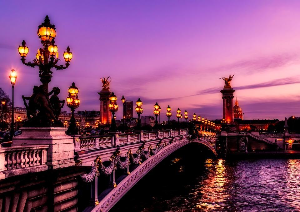 paris bridge at night-triplisters